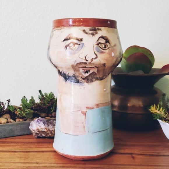 Vintage, rare, face, portrait, vase, pottery,